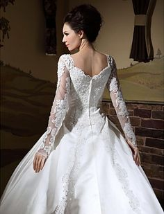 Ball Gown V-neck Long Sleeves Chapel Train Satin Wedding Dress - USD $ 347.99