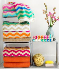 H Chevron Towels.