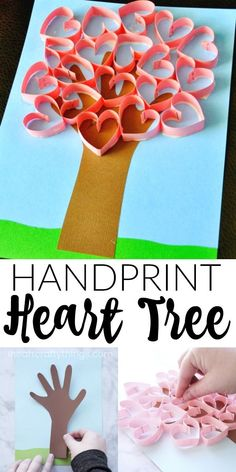 This darling handprint heart tree craft makes a perfect Valentine's Day craft for kids or it can also be made for a Mother's Day craft to give to Mom or Grandma. The paper hearts pop off the page giving this handprint heart tree craft an awesome 3-dimensional look. #valentinesday #valentinesdaycrafts #kidcraft #kidscraft #kidscrafts #iheartcraftythings #crafts #valentine #valentinesdaygift #papercrafts #papercrafting