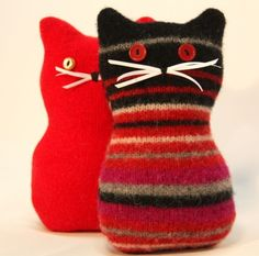 felted wool crafts These plushie Kitty Meows are made from recycled felted wool sweaters. They are individually handmade no two are a like, They are squidgy and cute,they are small e Felted Wool Crafts, Felt Crafts, Recycled Sweaters, Wool Sweaters, Recycled Clothing, Old Sweater Crafts, Pullover Upcycling, Sewing Crafts, Sewing Projects