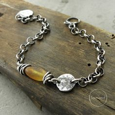 Sterling silver and amber - bracelet