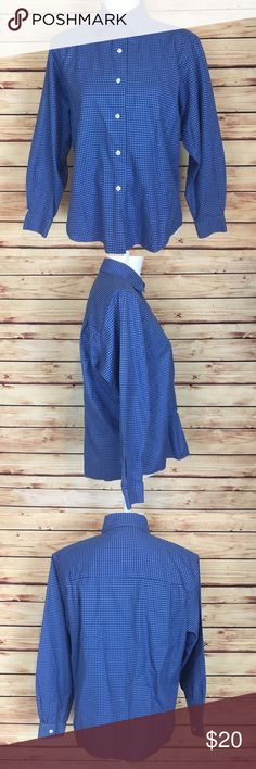 """Talbots Blue Houndstooth Button Down Shirt 8P Talbots houndstooth button down blouse. Wrinkle resistant. Blue. Collared. Long sleeve. Size 8P.  Excellent preowned condition with no flaws.  Measurements are approximately: 42"""" bust, 40"""" waist, and 24.5"""" length.  100% cotton.  No trades. All items come from a pet friendly home. Bundle to save! Talbots Tops Button Down Shirts"""