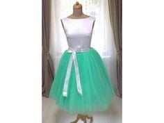 Dámská tylová TUTU sukně mint zelená