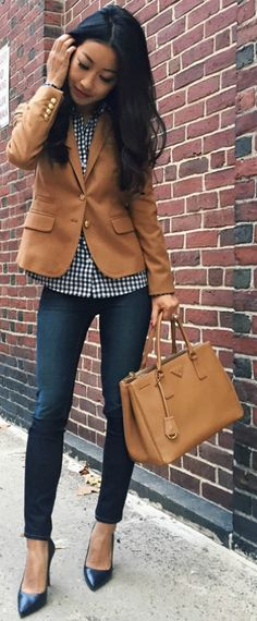 Jean Wang + denim jeans + heels + cute brown blazer + casual and stylish + perfect + day fall style  Blazer: J.Crew, Shirt: Brew, Jeans: J. Brand.
