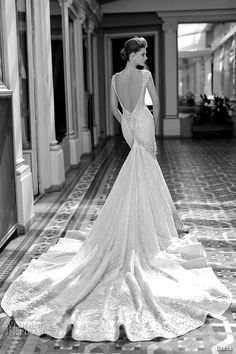 Look at that train tho *faints* berta fall 2016 bridal gorgeous cap sleeveless deep v plunging neckline fit to flare trumpet mermaid wedding dress cathedral train back view