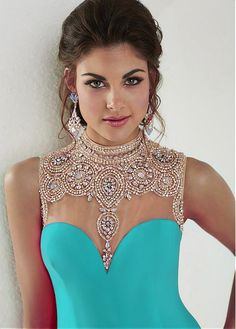 Buy discount Chic Tulle & Chiffon Illusion High Neckline Mermaid Evening Dresses With Beads & Rhinestones at Magbridal.com
