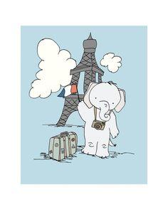 Elephant's Trip to Paris 8x10 Elephant by SweetMelodyDesigns, $15.00 Elephant Nursery Art, Cute Baby Elephant, Elephant Print, Paris Nursery, Nursery Decor, Art Wall Kids, Art For Kids, Wall Art, Balloon Rides