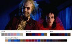 Moviesincolor: A color palette blog based on your favorite films  Tim Burton Beetlejuice, 1988 Cinematography:Thomas E. Ackerman