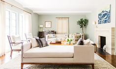 Neutral living room with indoor plant, artwork, and daybed