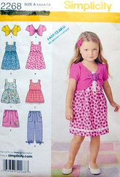 SIMPLICITY 2268 - Easy-to-sew Childs Sun Dresses / Tops / Pants /  Shorts - Sizes 3, 4, 5, 6, 7, 8 YR by LaraineRoseHandiWorx on Etsy