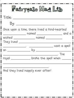 Pinner says: Fairytale mad lib for the end our our Cinderella Common Core Unit in first grade. This one is definitely a kid favorite! Traditional Literature, Traditional Tales, Teaching Writing, Writing Activities, Fairy Tale Activities, Fractured Fairy Tales, Fairy Tales Unit, Fairy Tale Theme, First Grade Reading