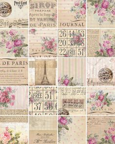 DIGITAL DOWNLOADS ShaBBY ChIc WrAPpiNG PaPEr FLoRaL ATC bAckGroUnDs FrENch EphEmeRa PrinNTaBLe PAriS ToUr EiFFeL PoLKa DoTs, No. 57