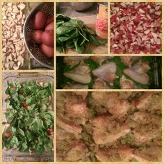Red potatoes, rotel tomatoes, spinach, seasoned chicken wings