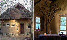 Casa de arcilla, arena, paja y barro común de tierra.