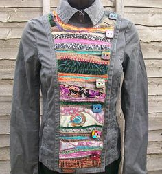 a hand jacket which i have customised using applique, couching, and adding my own handmade buttons by McAnaraks Sewing Blouses, Techniques Couture, Altered Couture, Altering Clothes, Recycled Fashion, Diy Clothing, Recycled Clothing, Diy Fashion, Cycling Outfit