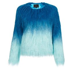 Unreal Fur Pastoral Aqua Ombre Faux Fur Jacket (6,245 DOP) ❤ liked on Polyvore featuring outerwear, jackets, blue, fur, tops, blue jackets, faux fur jacket, aqua jacket, ombre jacket and cropped jacket