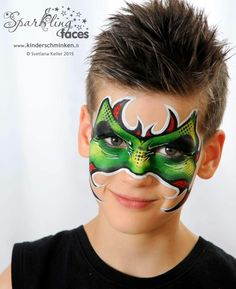Monster Monster Face Painting, Dragon Face Painting, Face Painting For Boys, Face Painting Designs, Body Painting, Skin Paint, Dragons, Kids Makeup, Boy Face
