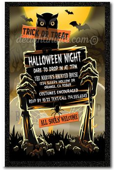 Zombie Graveyard Adult Halloween Party Invitations, Adult Halloween costume party invitations