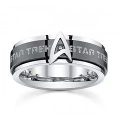 Take your wardrobe to another level at warp speed with the Star Trek Stainless Steel & Black IP Spinner Band. A fidget ring for Adults Star Trek Ring, Star Trek Shop, Star Trek Wedding, Marvel Wedding, Deep Space Nine, Star Trek Merchandise, Starship Enterprise, Star Trek Universe, Geek Out