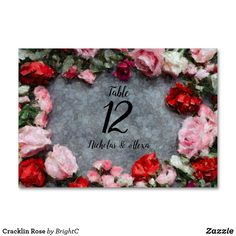 Shop Cracklin Rose Table Number created by BrightC. Rose Rise, Personalized Buttons, Table Names, Wedding Table Numbers, Rose Wedding, Floral Flowers, Red And Pink, Red Roses, Create Your Own