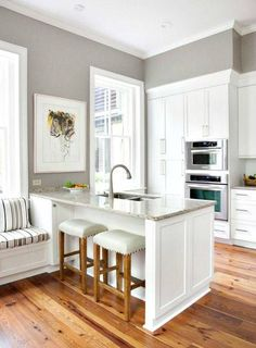 Requisite Gray - Sherwin Williams. Just painted our kitchen this color. Love it!!!
