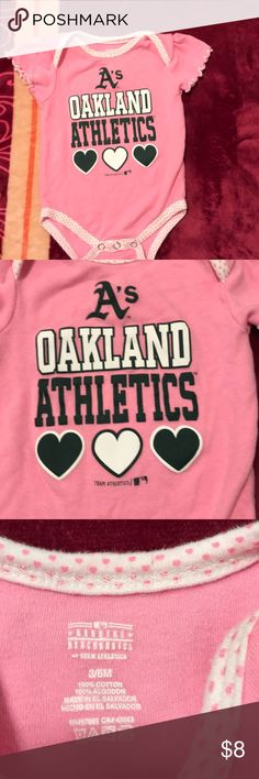 Oakland Athletics A's baby girl onesie 3/6 month Oakland Athletics A's baby girl pink 3/6 onesie worn once nice Team Athletics One Pieces