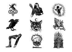 Dark and symbolic illustrations by design duo Førtifem - Bleaq Ink Illustrations, Illustration Art, Arte Inuit, Tatto Love, Occult Tattoo, Spooky Tattoos, Old School Tattoo Designs, Dark Drawings, Tatuagem Old School