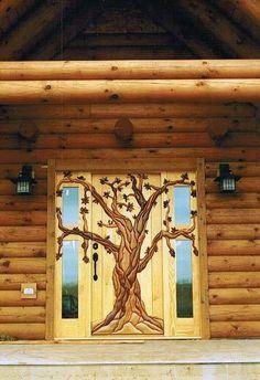 an amazing craved front cabin door