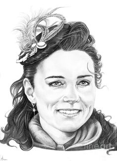 Kate Middleton pencil on paper drawing by Murphy Elliott