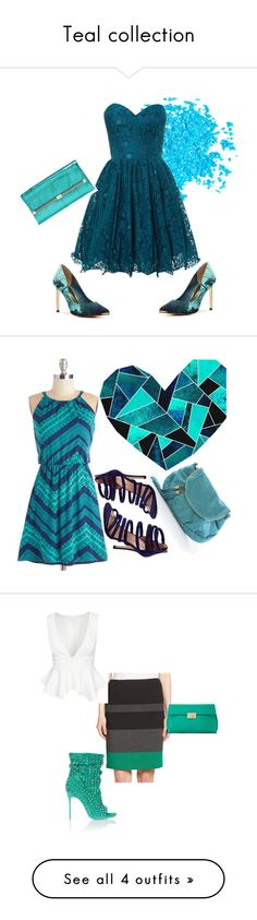 """""""Teal collection"""" by nfc-spring-phillip on Polyvore featuring Ted Baker, Manic Panic, Chi Chi, Diane Von Furstenberg, Renvy, Lucca Baldi, BOSS Hugo Boss, Dune, Christian Louboutin and MaxMara"""