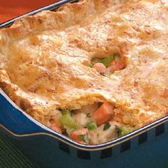 Home-Style Chicken Potpie Recipe- Recipes I served this potpie along with chili on Super Bowl Sunday. No one ate the chili. In fact, one of my husband's single friends called the next day and asked for the leftover pie. Empanadas, Quiche, Great Recipes, Dinner Recipes, Favorite Recipes, Cooked Carrots, Crust Recipe, Casserole Recipes, Chicken Pot Pie Casserole