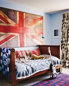 Isabella and Colin Cawdor's son James's bedroom—featuring a Vivienne Westwood Union Jack—in their London town house, seen here in 2013.