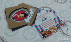 Convite Patrulha Canina Casinha, em azul marinho, listras e a alegria dos personagens!