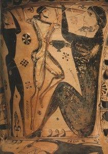 Ulisse  e il Ciclope Polifemo. (Cratere Proto Attico, 670 a.C. ca., Eleusi, Museo Archeologico).