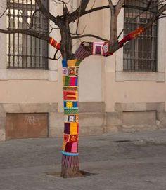 Yarn bombing - Tree in Madrid