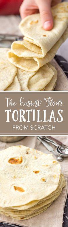 Easy Flour Tortillas From Scratch These easy homemade flour tortillas will take tacos, enchiladas, burritos, and more to the next level with simple ingredients. Use your hands or an electric mixer to make them from scratch with just 5 simple ingredients. I Love Food, Good Food, Yummy Food, Mexican Dishes, Mexican Food Recipes, Mexican Desserts, Tortilla Recipes, Drink Recipes, Dinner Recipes