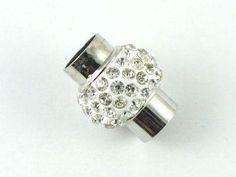Zapięcie magnetyczne z cyrkoniami srebrne 19x15 mm - 1 komplet  Półfabrykaty metalowe  »  Zaciski, końcówki
