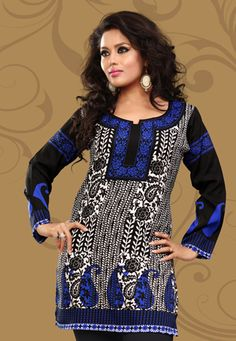 Off white, black and blue faux crepe paisley and floral printed readymade kurti. Bottom shown in the image is for photography purpose. (Slight variation in color is possible.) data-pin-do=