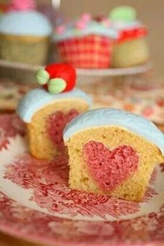 pink heart inside cupcakes