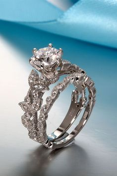 Unique Leaf Design 925 Sterling Silver White Gold Plated Women's Engagement Ring/Wedding Ring #weddingring