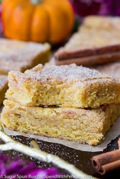 Sweet, chewy, cinnamon-sugared Pumpkin Blondies are great festive fall treats! Flavored with real pumpkin and seasonal spices, these treats are addictive!