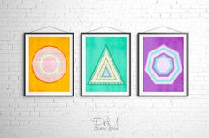 Circle Triangle & Polygon Art Set of 3 Prints by PomGraphicDesign