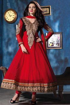 Venetian Red Pure Georgette Embroidered Festival Anarkali Kameez Sku Code:324-4356SL428652 $ 95.00