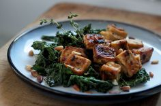 Chili and Lemon Roasted Tofu with Kale & Pine Nuts. A One tray vegan supper.