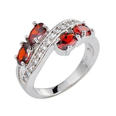 Rongxing Jewelry Ring Size 7 Ovel Red Garnet Women's White Gold Filled Wedding. main stone:Ruby. Ring Size:6/7/8/9/10. Color:Red. Mental:White Gold Filled. Note: Due to the difference between different monitors, the picture may not reflect the actual color of the item. We guarantee the style is the same as shown in the pictures. Thank you! 100% Brand New, Pls Wait Patiently Any Questions Pls Message Us First, Thank You For Your Kindly.