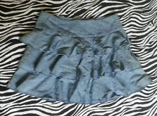 ~ Express Juniors Flirty Ruffle Light Denim Mini Skirt Size 0~EUC