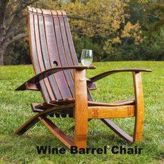 These free Adirondack chair plans will help you build a great looking chair in just a few hours, Build one yourself! Here are 18 adirondack chair diy Wine Barrel Chairs, Whiskey Barrel Furniture, Wine Barrels, Plywood Furniture, Rustic Furniture, Furniture Design, Chair Design, Antique Furniture, Design Design