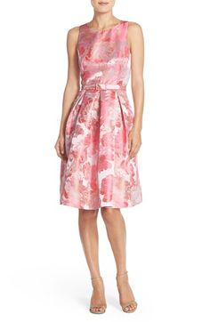 Floral Metallic Jacquard Fit & Flare Dress