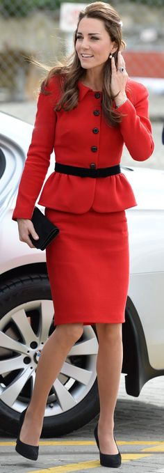 duchesskate: Cambridge Royal Tour-Day 7, Christchurch, New Zealand, April 14, 2014-The Duchess of Cambridge repeated a Luisa Spangoli red skirt suit she first wore on a visit to St. Andrews University, teamed with black accessories to honor the colors of Christchurch-red and black.
