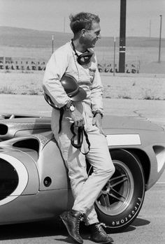 Steve McQueen and his Lola at Riverside Raceway in Riverside, California